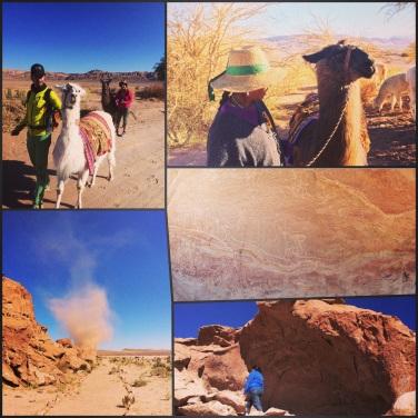 collage de caminata con llamas y paseo a petroglifos